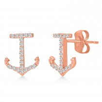 Diamond Accented Anchor Earrings 14k Rose Gold (0.20ct)