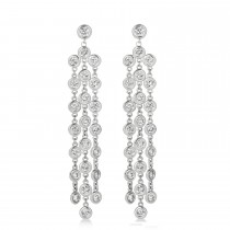 Diamond Accented Dangling Chandelier Earrings 14k White Gold (2.75ct)|escape