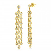 Diamond Accented Dangling Chandelier Earrings 14k Yellow Gold (2.75ct)