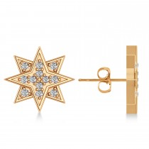 Galaxy Starburst Diamond Accented Stud Earrings 14k Rose Gold (0.31ct)