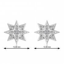 Galaxy Starburst Diamond Accented Stud Earrings 14k White Gold (0.31ct)