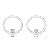 Floating Diamond Hoop Earrings 14k White Gold (0.20 ctw)