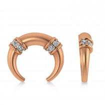 Diamond Crescent Moon Horn Earrings 14k Rose Gold (0.16ct)