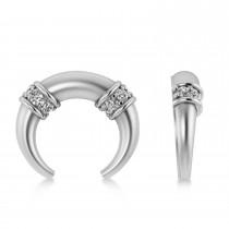 Diamond Crescent Moon Horn Earrings 14k White Gold (0.16ct)