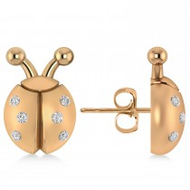 Lady's Diamond Ladybug Earrings 14k Rose Gold  (0.18ctw)