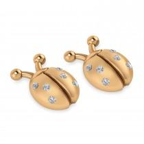 Lady's Diamond Ladybug Earrings 14k Rose Gold  (0.18ctw)