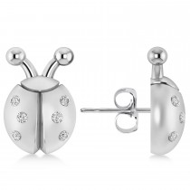 Lady's Diamond Ladybug Earrings 14k White Gold (0.18ctw)
