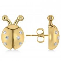 Lady's Diamond Ladybug Earrings 14k Yellow Gold  (0.18ctw)
