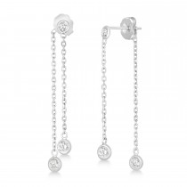 Diamond Bezel-Set Drop Earrings in 14k White Gold (0.50 ctw)