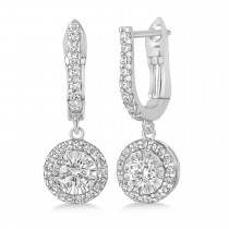 Round Diamond Halo Dangle Earrings in 14k White Gold (1.57 ctw)