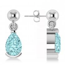 Aquamarine Dangling Pear Earrings 14k White Gold (2.00ct)