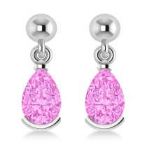 Pink Tourmaline Dangling Pear Earrings 14k White Gold (2.00ct)