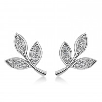 Diamond 3-Petal Leaf Earrings 14k White Gold (0.21ct)