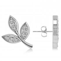 Diamond 3-Petal Leaf Earrings 14k White Gold (0.21ct)