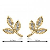 Diamond 3-Petal Leaf Earrings 14k Yellow Gold (0.21ct)