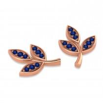 Blue Sapphire 3-Petal Leaf Earrings 14k Rose Gold (0.21ct)