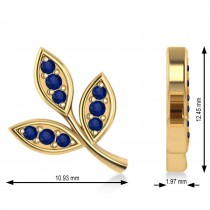 Blue Sapphire 3-Petal Leaf Earrings 14k Yellow Gold (0.21ct)