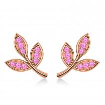 Pink Sapphire 3-Petal Leaf Earrings 14k Rose Gold (0.21ct)