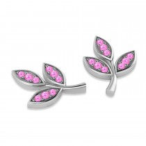 Pink Sapphire 3-Petal Leaf Earrings 14k White Gold (0.21ct)