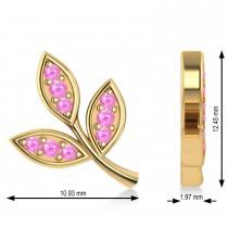 Pink Sapphire 3-Petal Leaf Earrings 14k Yellow Gold (0.21ct)