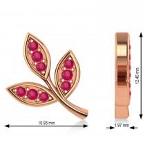 Ruby 3-Petal Leaf Earrings 14k Rose Gold (0.21ct)