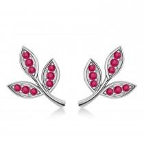 Ruby 3-Petal Leaf Earrings 14k White Gold (0.21ct)