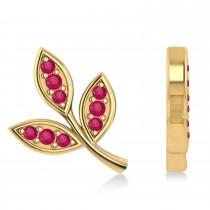 Ruby 3-Petal Leaf Earrings 14k Yellow Gold (0.21ct)