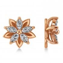 Diamond 5-Petal Flower Earrings 14k Rose Gold (1.40ct)