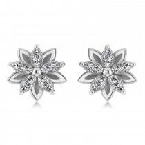 Diamond 5-Petal Flower Earrings 14k White Gold (1.40ct)
