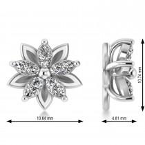 Diamond 5-Petal Flower Earrings 14k White Gold (1.40ct)