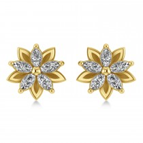 Diamond 5-Petal Flower Earrings 14k Yellow Gold (1.40ct)