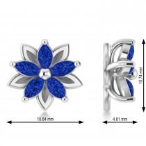 Blue Sapphire 5-Petal Flower Earrings 14k White Gold (1.40ct)