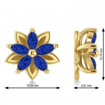 Blue Sapphire 5-Petal Flower Earrings 14k Yellow Gold (1.40ct)