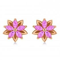 Pink Sapphire 5-Petal Flower Earrings 14k Rose Gold (1.40ct)