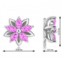 Pink Sapphire 5-Petal Flower Earrings 14k White Gold (1.40ct)