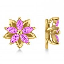 Pink Sapphire 5-Petal Flower Earrings 14k Yellow Gold (1.40ct)