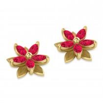 Ruby 5-Petal Flower Earrings 14k Yellow Gold (1.40ct)