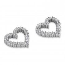 Diamond Open Heart Earrings 14k White Gold (0.60ct)