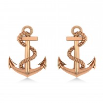 Anchor With Rope Earrings 14k Rose Gold