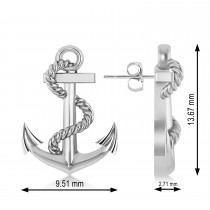 Anchor With Rope Earrings 14k White Gold
