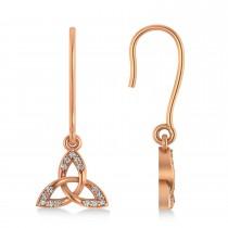 Diamond Celtic Knot Dangle Earrings 14k Rose Gold (0.15ct)
