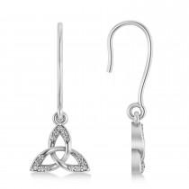 Diamond Celtic Knot Dangle Earrings 14k White Gold (0.15ct)