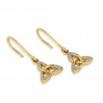 Diamond Celtic Knot Dangle Earrings 14k Yellow Gold (0.15ct)
