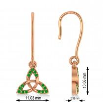 Tsavorite Celtic Knot Dangle Earrings 14k Rose Gold (0.15ct)