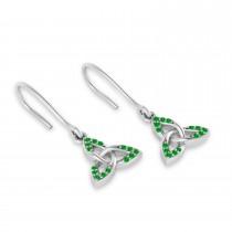 Tsavorite Celtic Knot Dangle Earrings 14k White Gold (0.15ct)