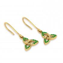 Tsavorite Celtic Knot Dangle Earrings 14k Yellow Gold (0.15ct)