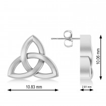 Celtic Knot Stud Earrings 14k White Gold
