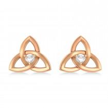 Diamond Celtic Knot Stud Earrings 14k Rose Gold (0.10ct)