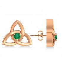 Emerald Celtic Knot Stud Earrings 14k Rose Gold (0.10ct)