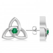 Emerald Celtic Knot Stud Earrings 14k White Gold (0.10ct)